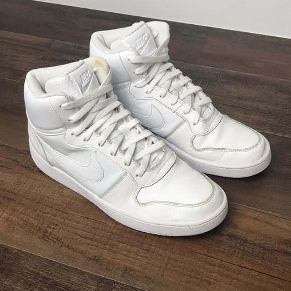 Nike Mens Ebernon Mid Whitewhite Size 1